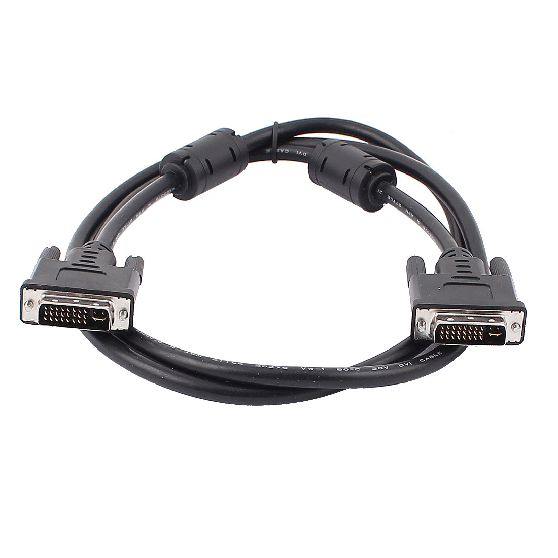 Black 24+5 Pin DVI-I Dual Link Plug Male to Male M/M Cable 1.5M 4.9ft