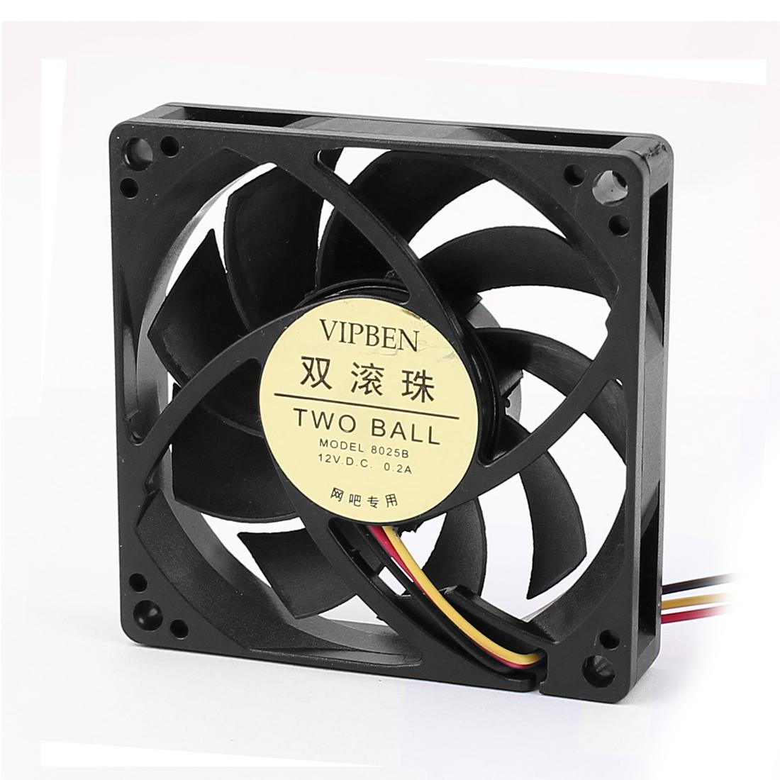 DC 12V 0.2A Computer Case Ball Bearing Motor Internal CPU Cooling Fan Cooler Black