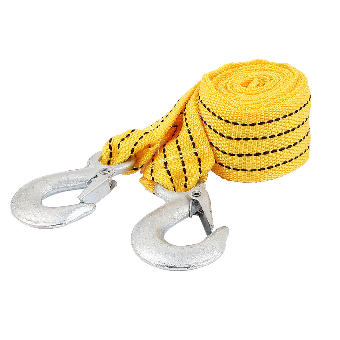 2.8m 3Tons Nylon Spring Loaded Towing Emergency Towing Strap Rope Yellow