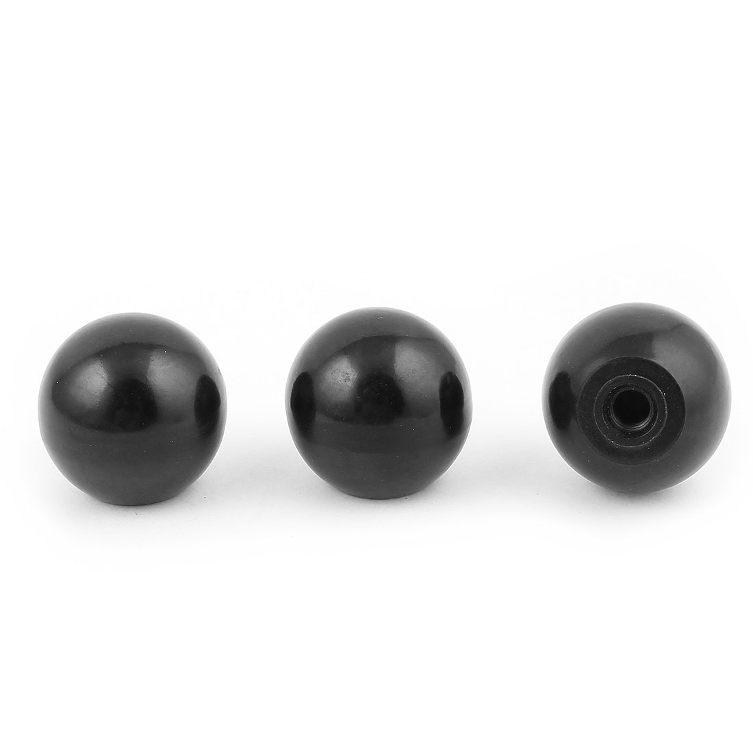 3 Pcs Plastic Ball Shape Joystick Machine Control Grip Black Knob 40mm Dia 8 mm Bore