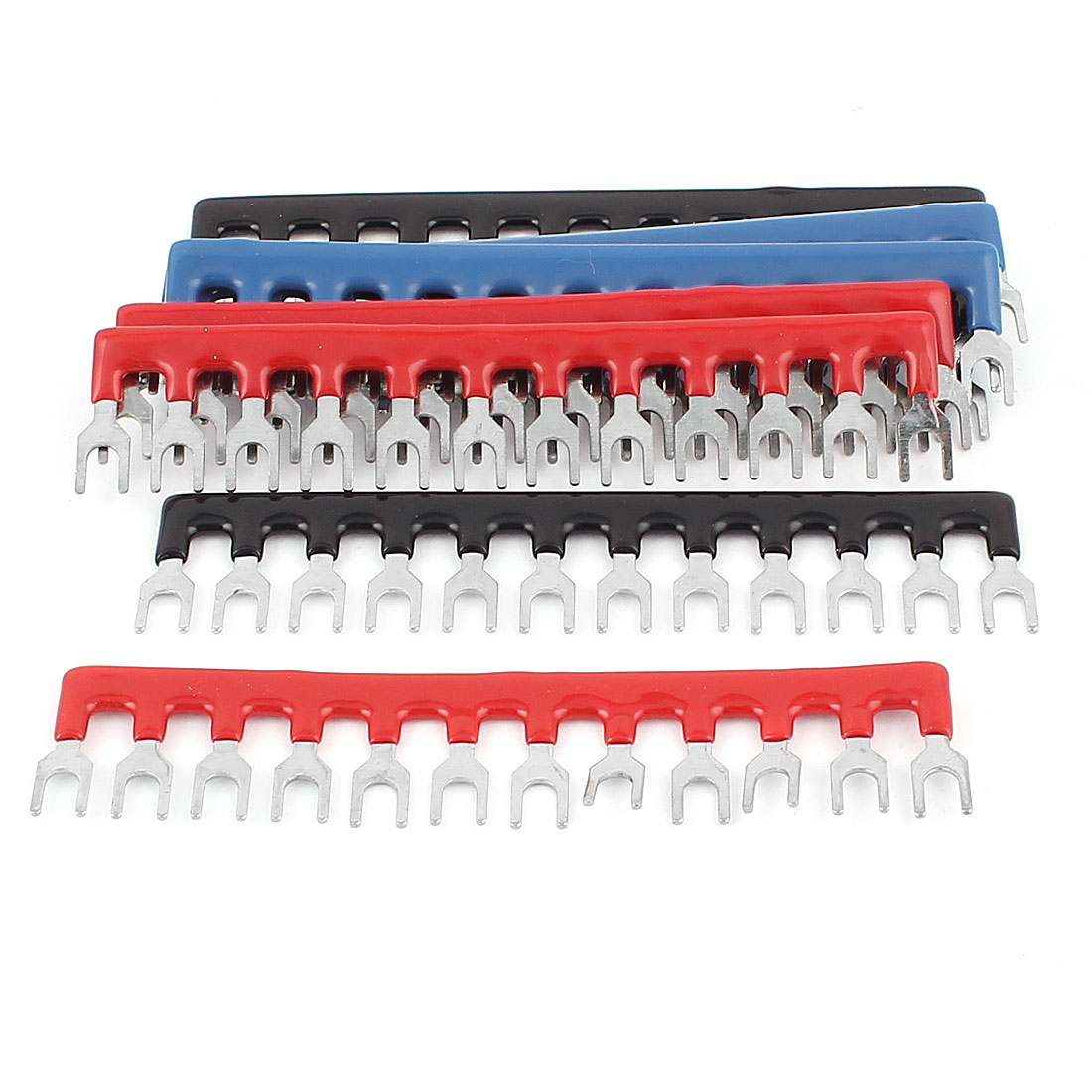 9 Pcs 12 Postion Fork Type Pre Insulated Terminal Strip Tricolor 400V 10A