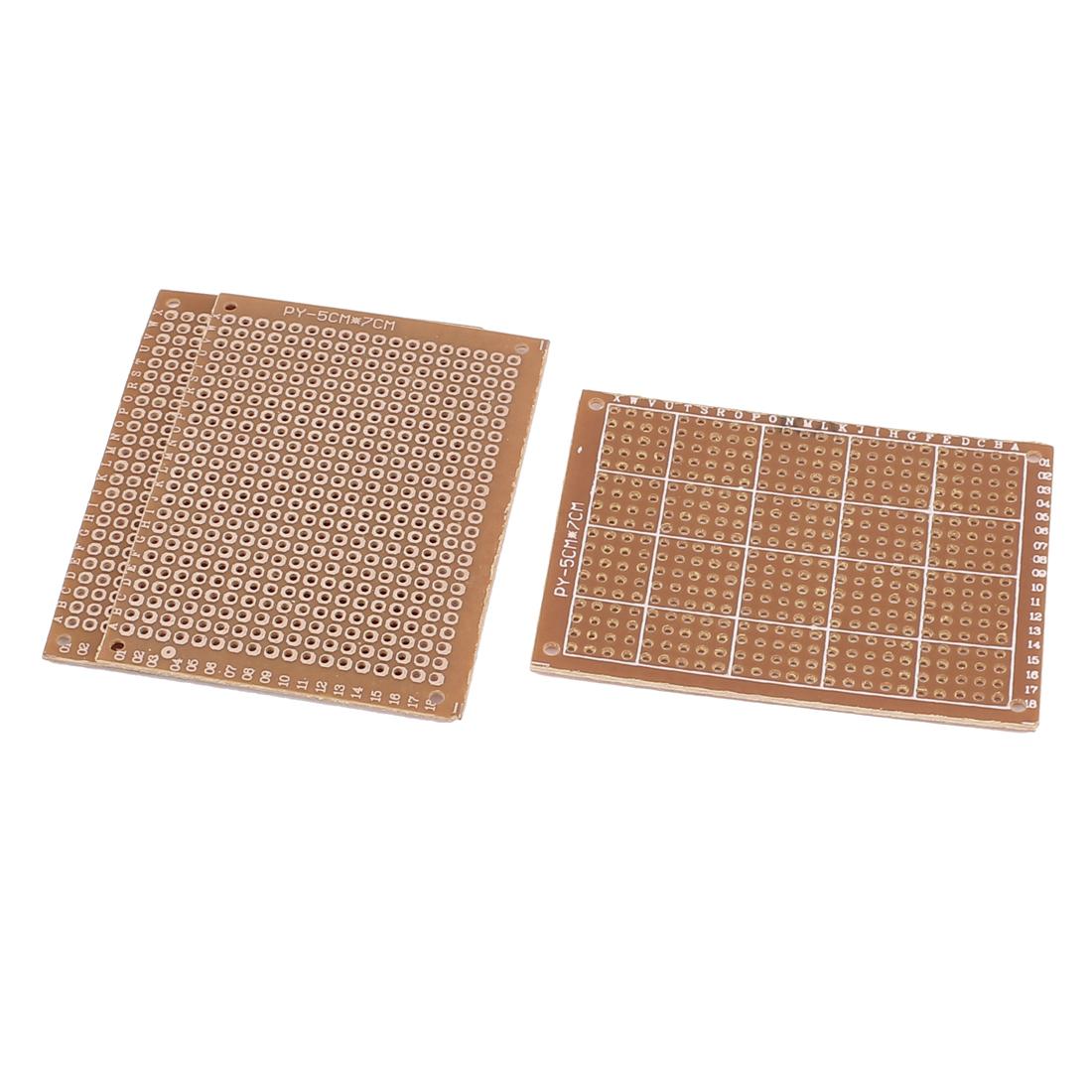 3 Pcs Prototype Universal PCB Print Circuit Board 70mm x 50mm Brass Tone