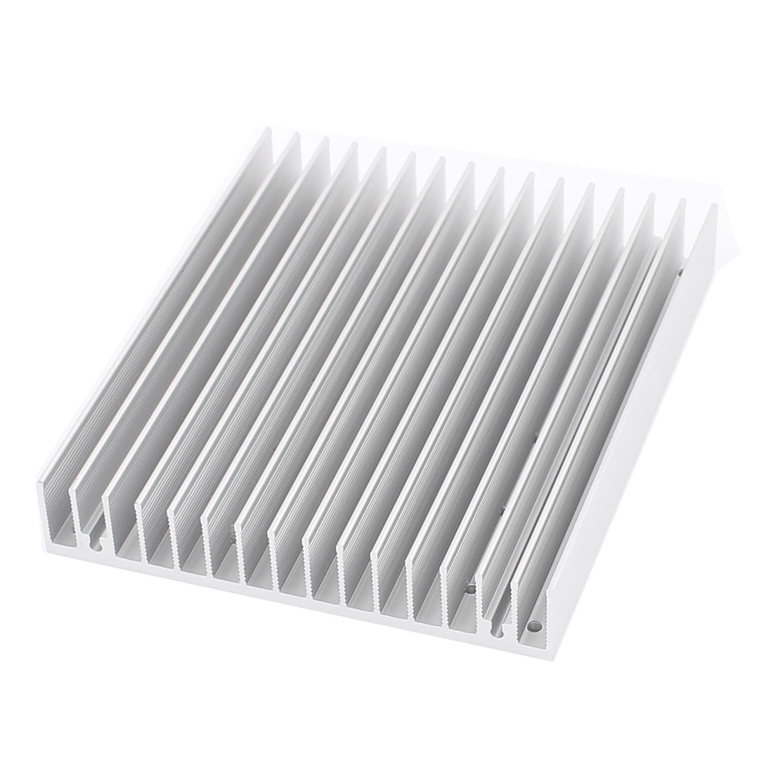 Silver Tone 120x100x18mm Aluminum Rectangle Heat Diffuse Cooling Fin Heatsink 10 Holes