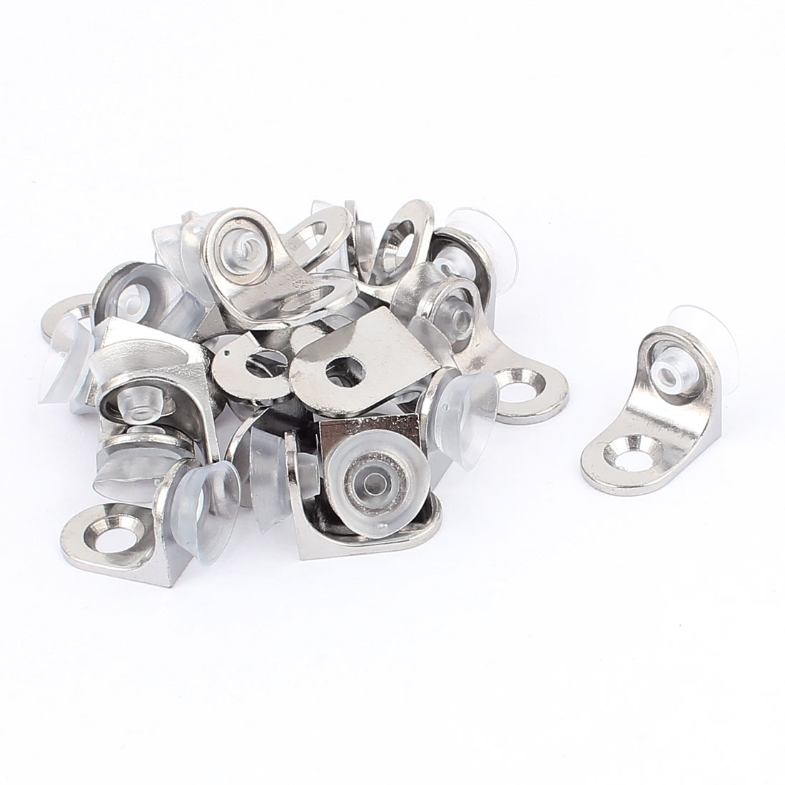 20 Pcs Right Angle Silver Plating Suction Cup Support Bracket Connecter for Glass Shelves