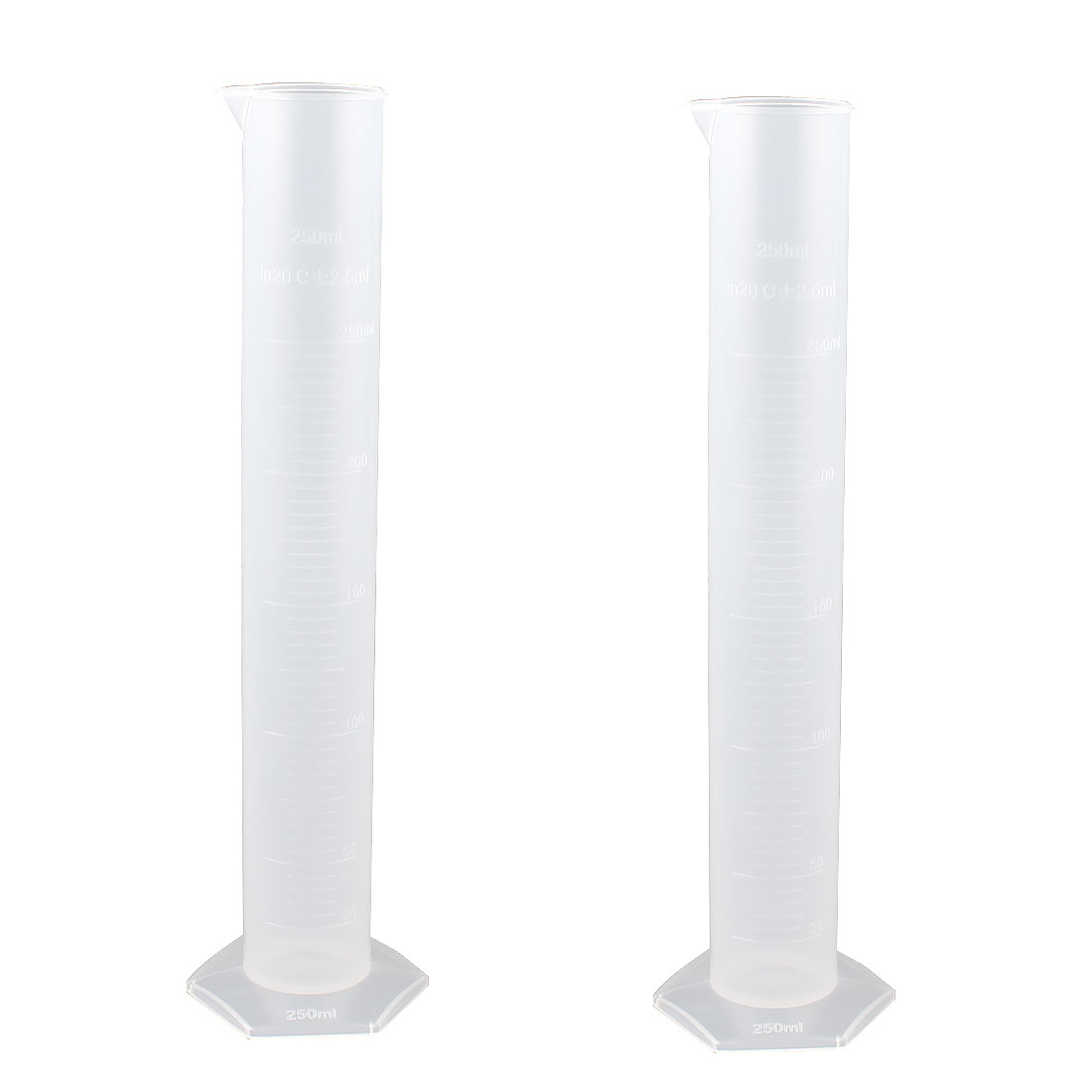 250ml Clear Plastic Cylinder Lab Liquid Container Graduated Measuring Beaker Cup 2 Pcs