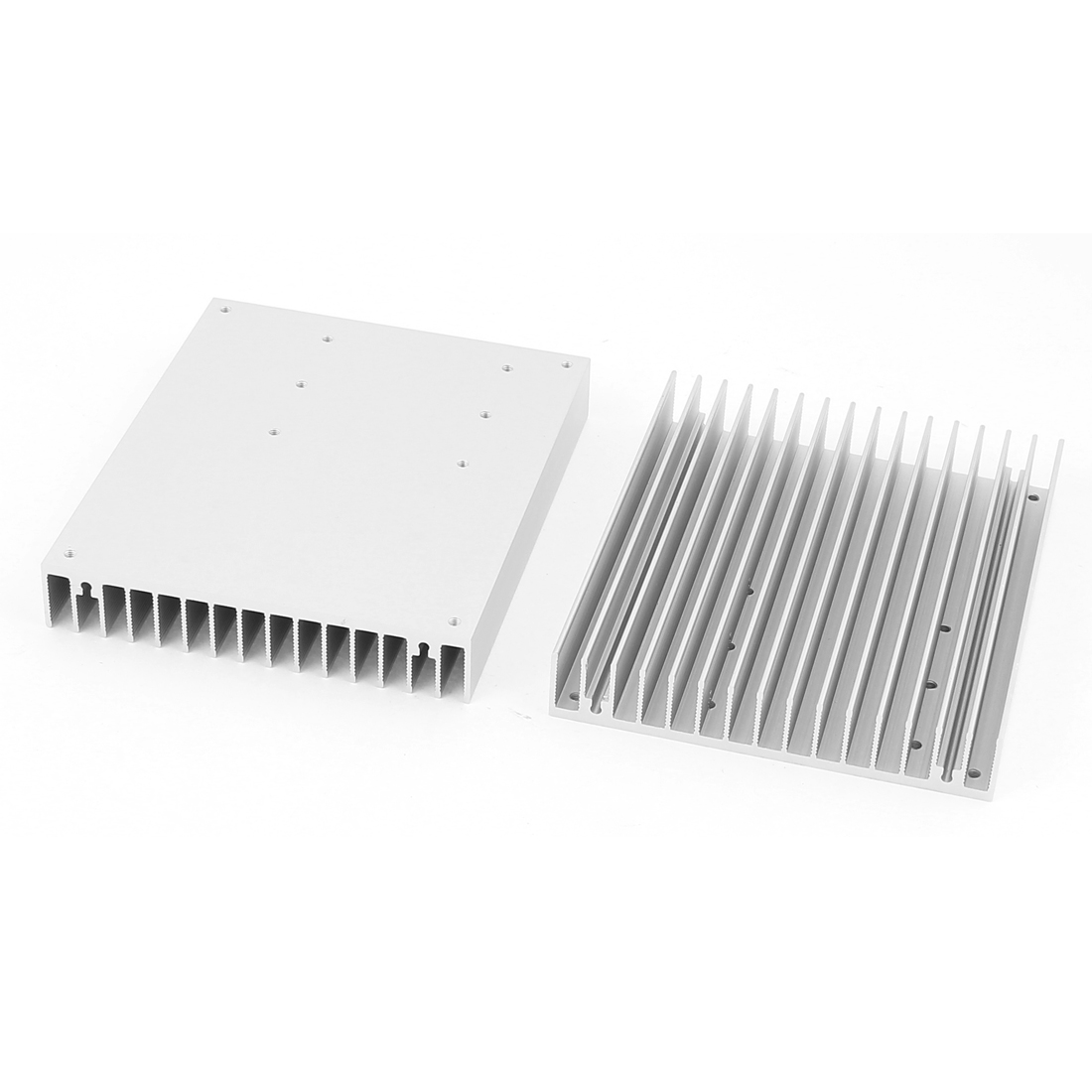 2 Pcs 120x100x18mm Aluminum Rectangle Heat Diffuse Cooling Fin Heatsink Silver Tone