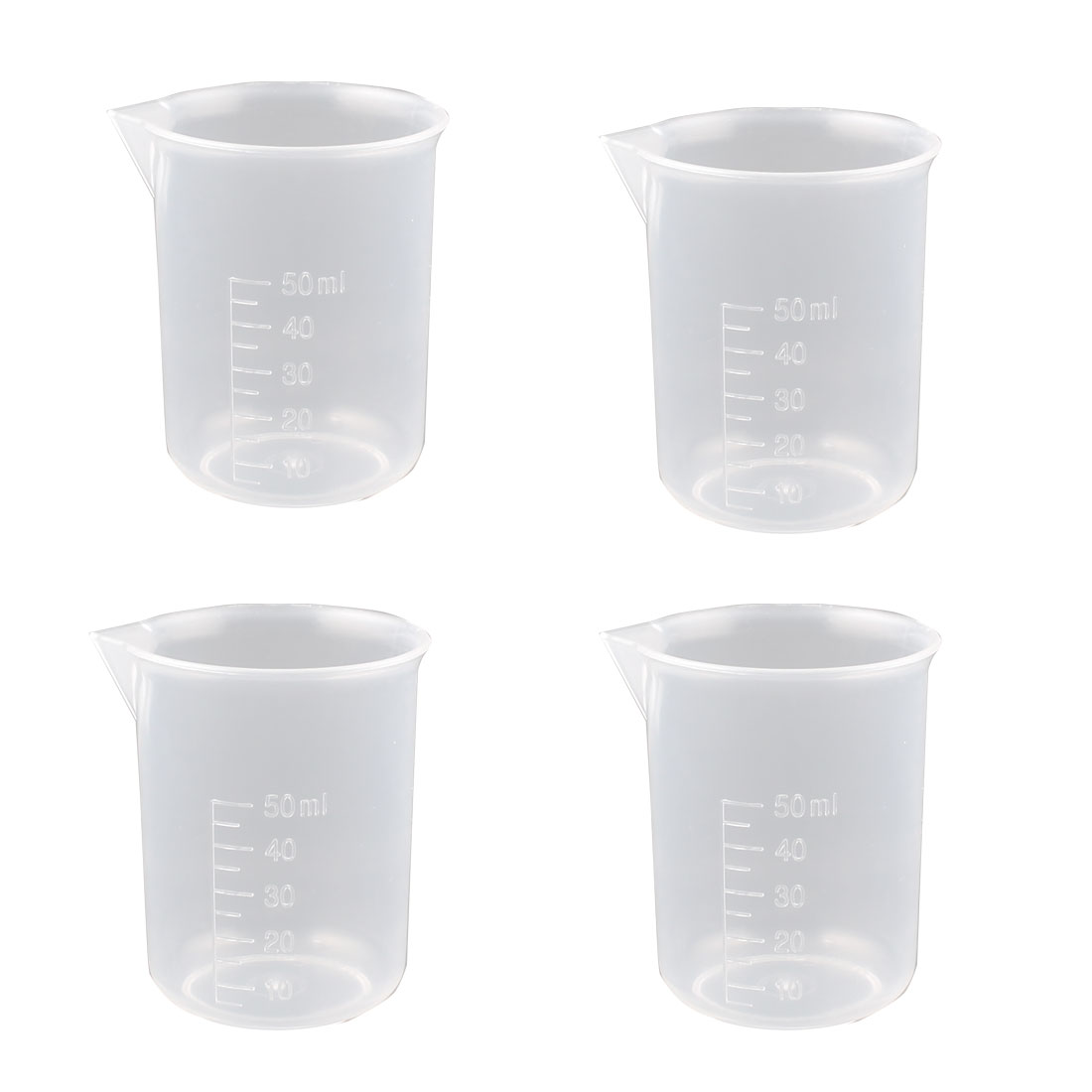 Clear Plastic Measuring Cup Beaker Laboratory Set 50ml Capacity 4 Pcs