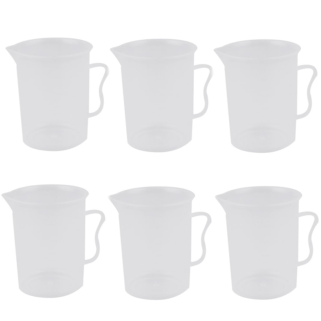 300ml Plastic Transparent Measuring Cup With Handle Beaker Laboratory Set 6 Pcs