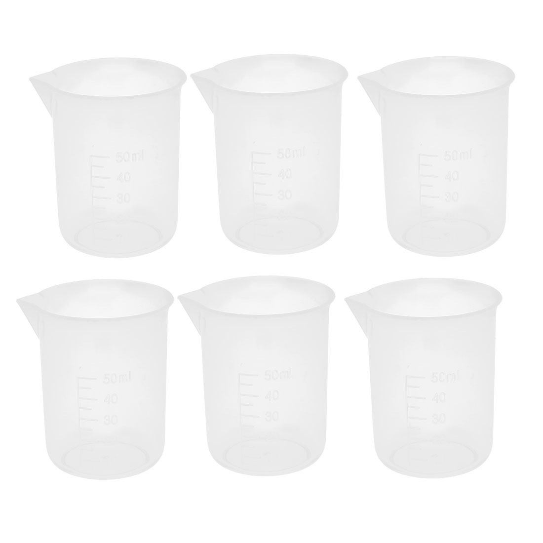 Clear Plastic Measuring Cup Beaker Laboratory Set 50ml Capacity 6 Pcs