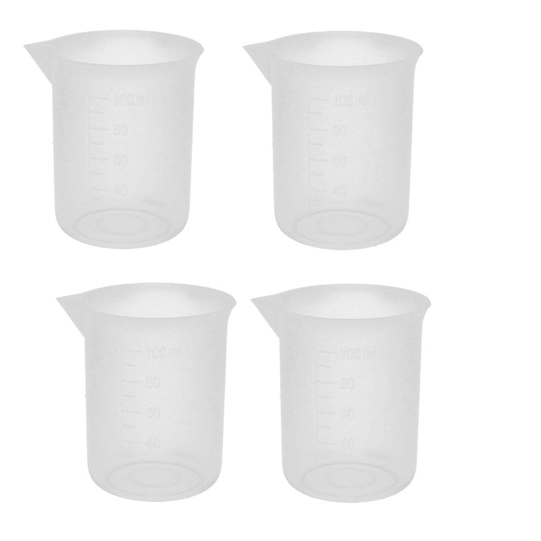 100ml Lab Test Plastic Graduated Measuring Beaker Cup Container 4 Pcs