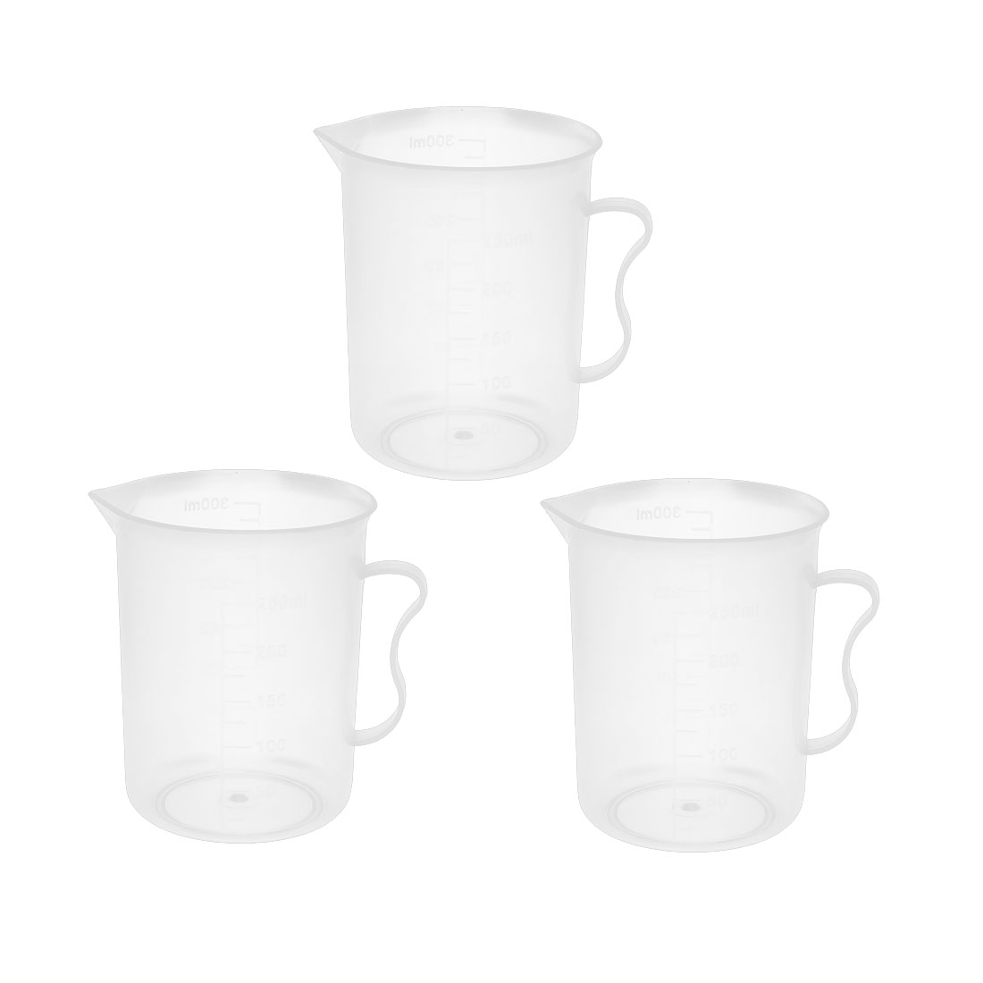 250ml Clear Plastic Measuring Cup With Handle Beaker Laboratory Set 3 Pcs