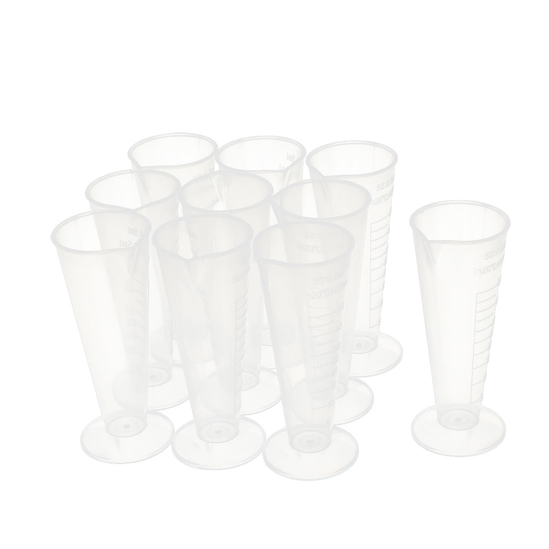 10 Pcs 50mL Plastic Conical Beaker Laboratory Graduated Measuring Cylinder Cup