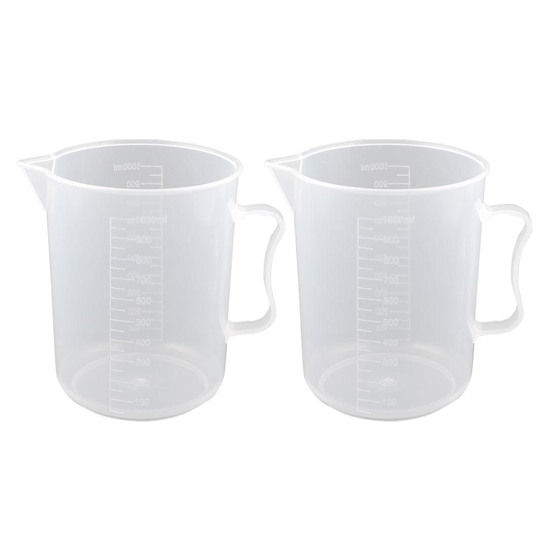 1000ml Plastic Laboratory Chemistry Transparent Measuring Cup Handle Design Cup Beaker 2 Pcs