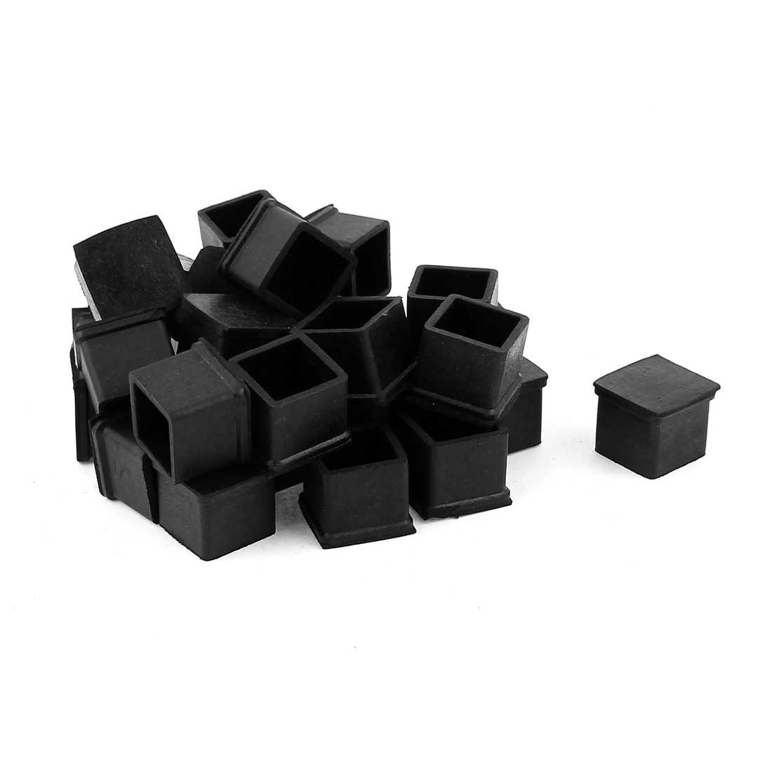 30 Pcs Square Rubber Furniture Table Foot Leg Cover Pad Floor Protector 20mm x 20mm
