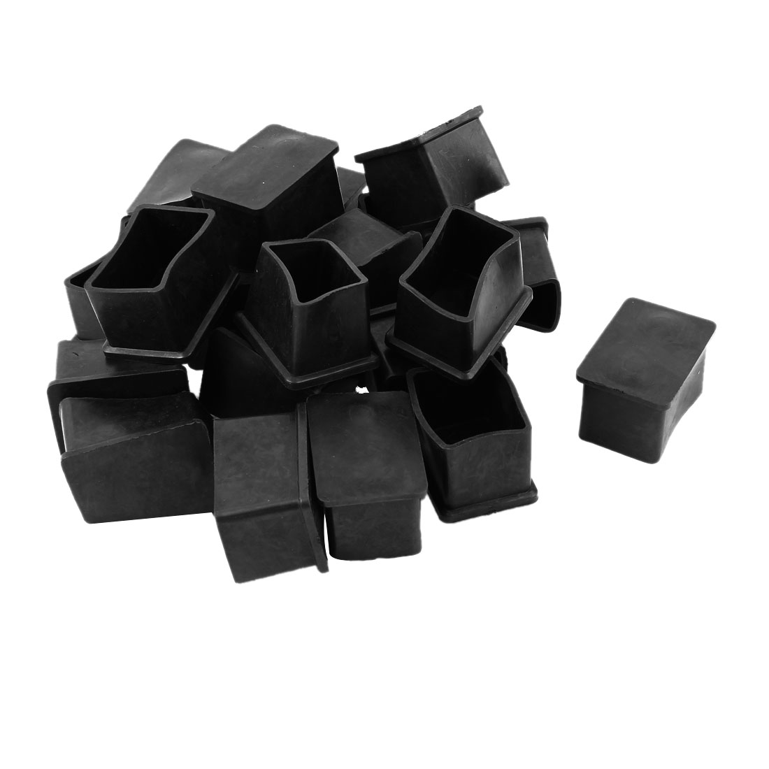 20 Pcs Rectangle Rubber Furniture Table Foot Leg Cover Pad Floor Protector 38mm x 25mm
