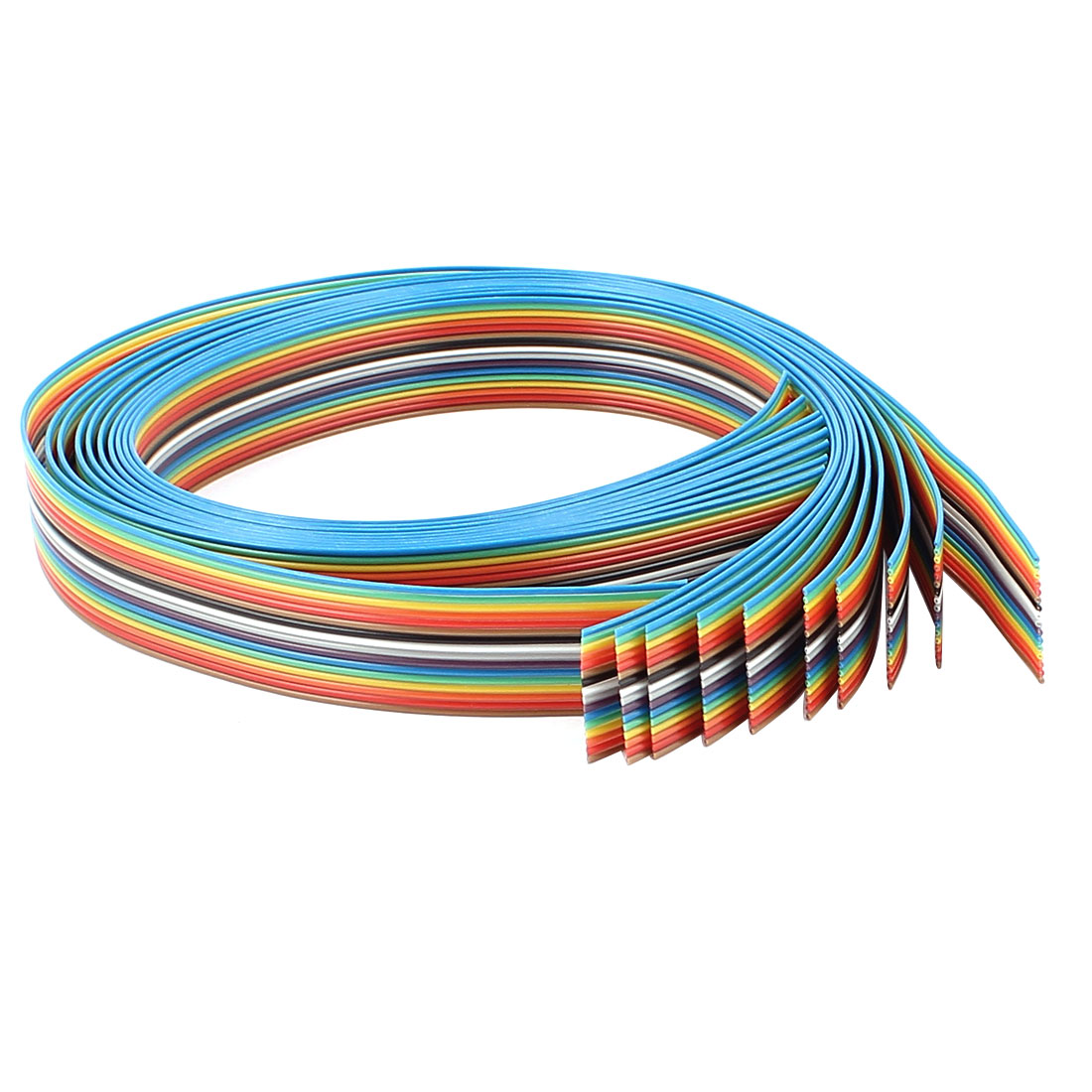 10 Pcs 400mm Long 16-Pin Rainbow Color Flat Ribbon Cable IDC Wire