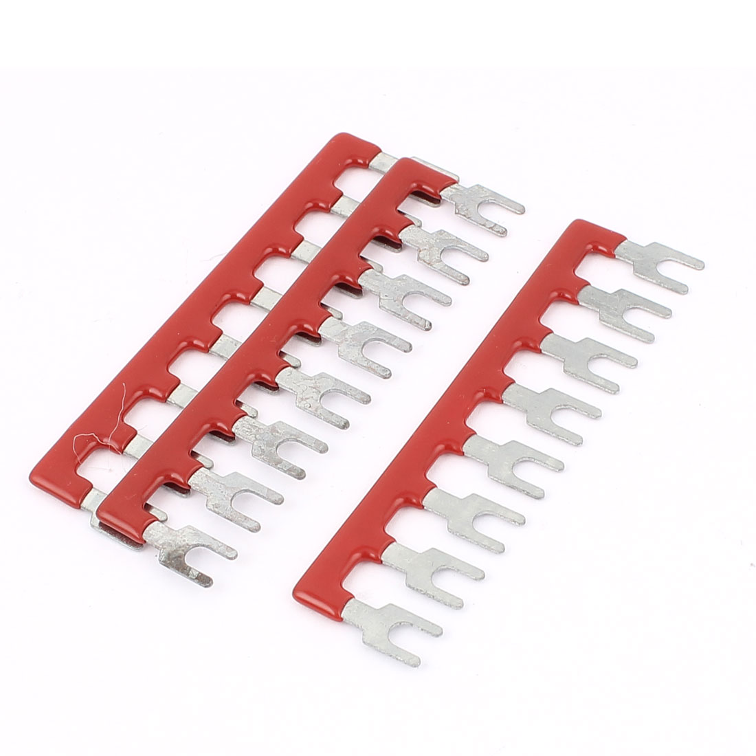 3 Pcs Fork Type 8 Positions Pre Insulated Terminal Strip Block Red 600V 25A