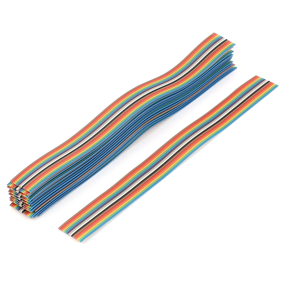 20 Pcs 200mm Long 16-Pin Rainbow Color Flat Ribbon Cable IDC Wire