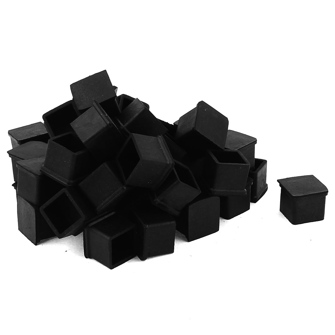 50 Pcs Square Rubber Furniture Table Foot Leg Cover Pad Floor Protector 20mm x 20mm