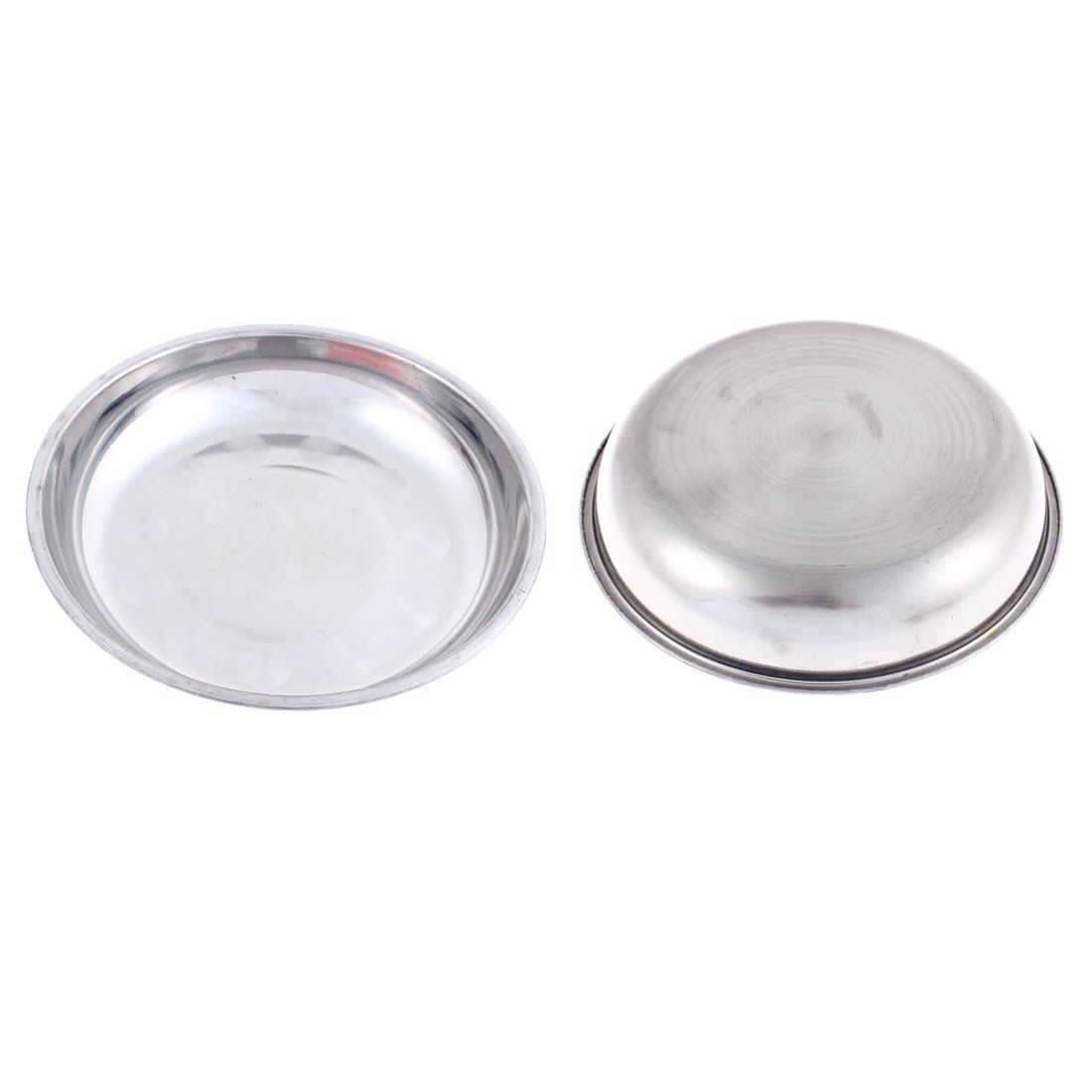 Kitchen Dinner Dish Food Plates Silver Tone 20cm x 3cm 2Pcs