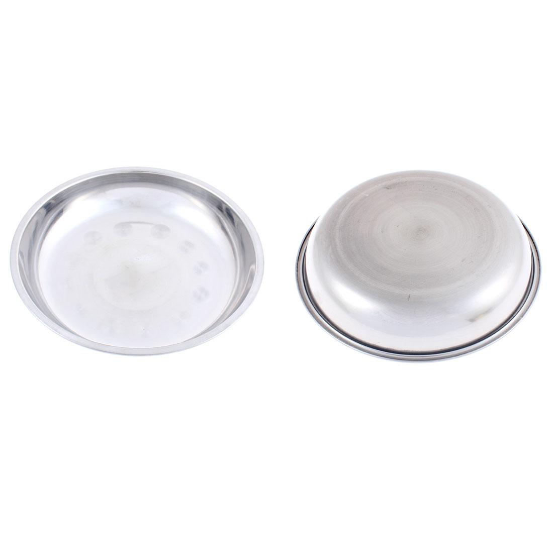 Kitchen Dinner Dish Food Round Shape Plates Silver Tone 18cm x 3cm 2Pcs