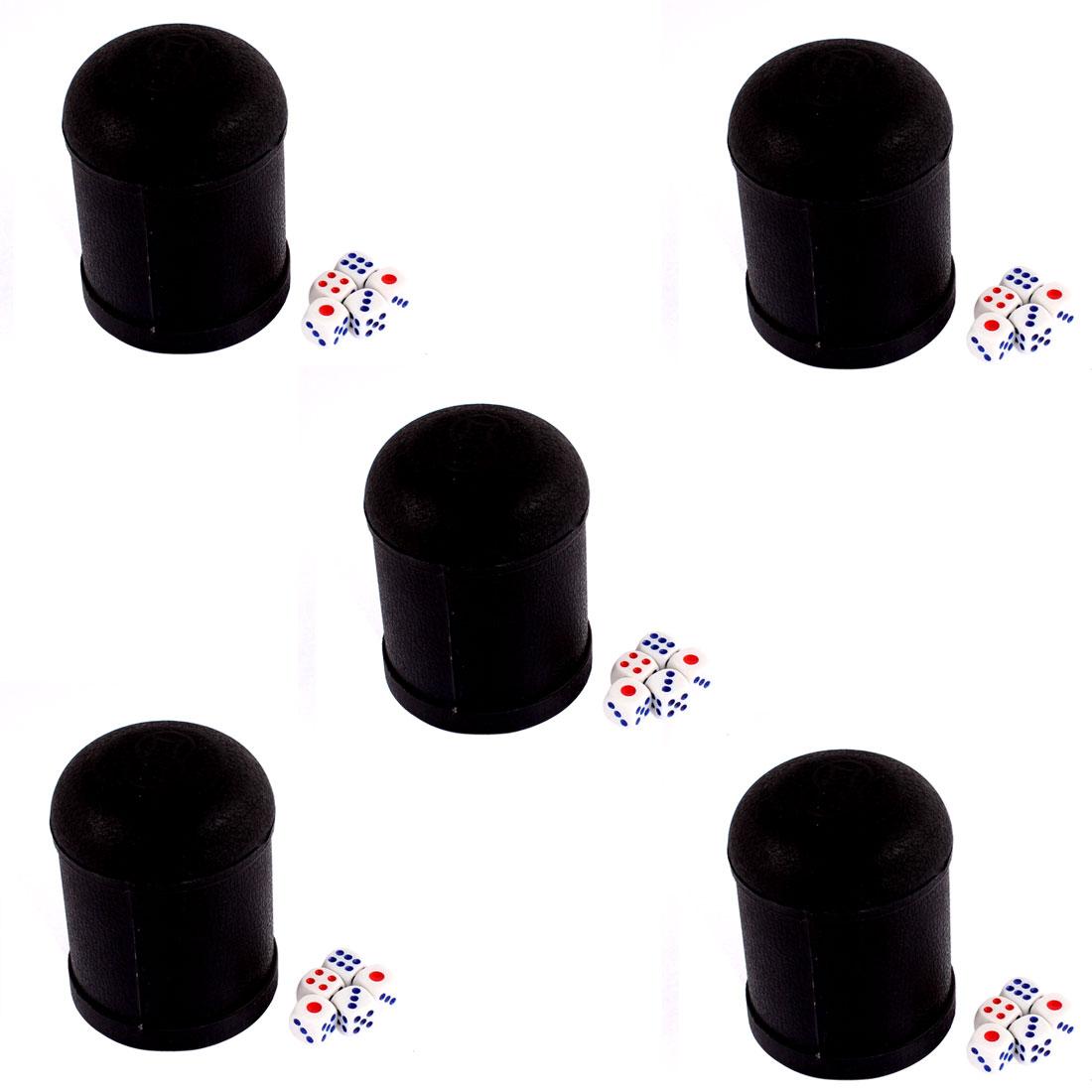 Pub Bar KTV Casino Lucky Games Plastic Shaker Cup Black 5pcs w 25pcs Dices