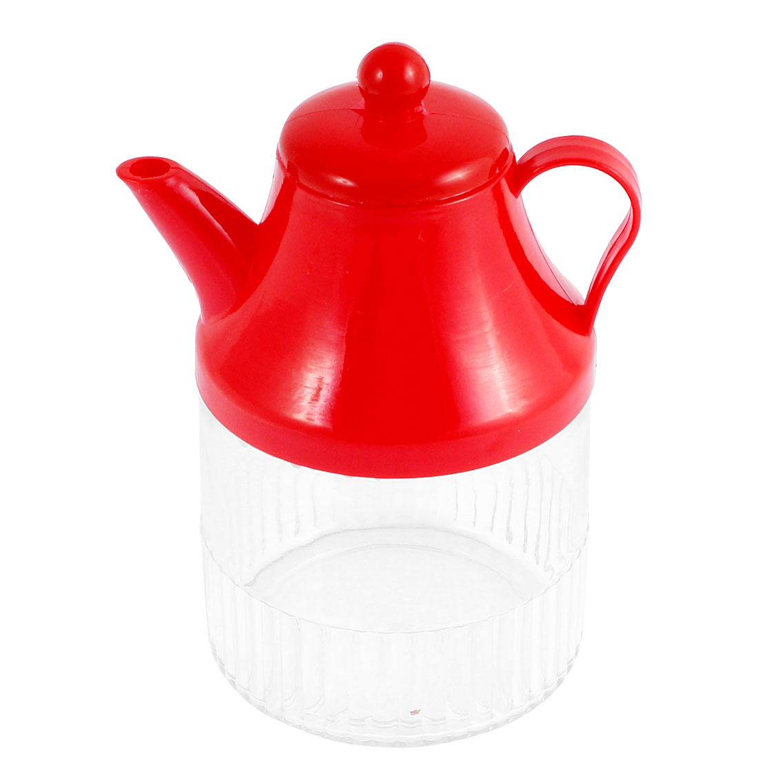 Kitchen Plastic Oil Flavoring Soy Vinegar Cruet Bottle Holder Red Clear 400ml