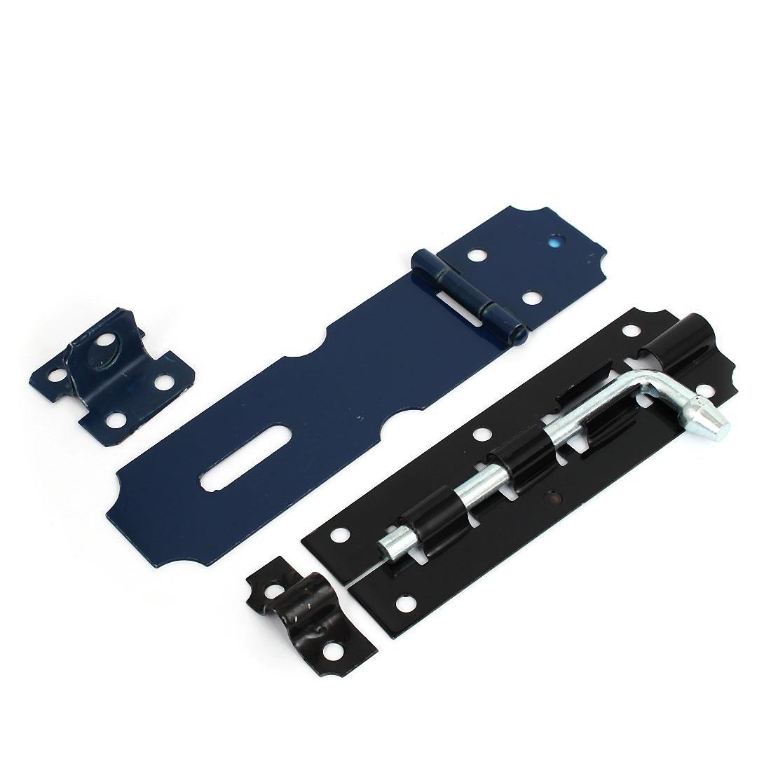 2 Set Black Blue Metal Door Hardware Lock Slide Barrel Bolt + Hasp Staple