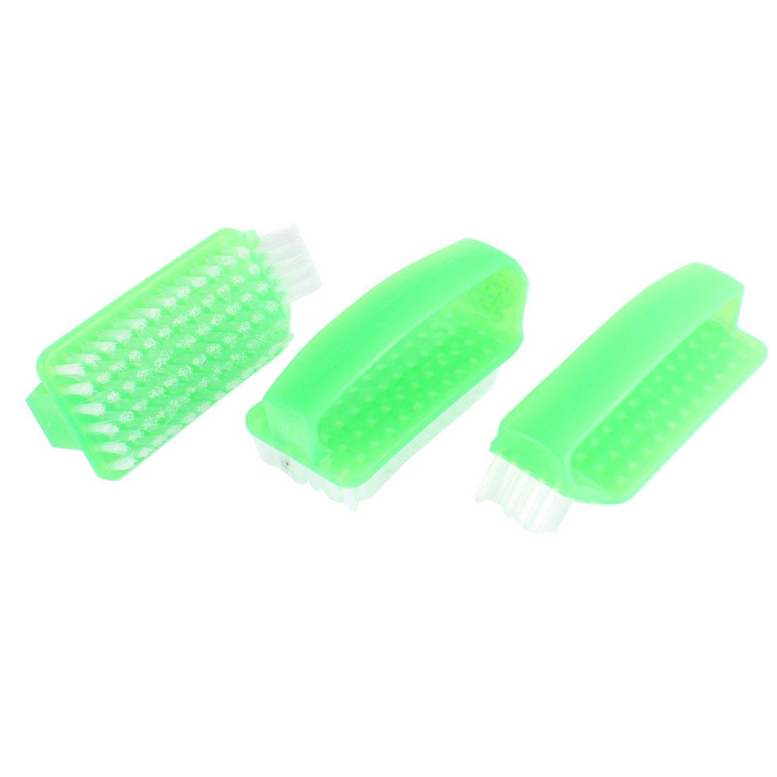 Plastic Grip Clothes Shoes Scrubbing Brush Green 3Pcs
