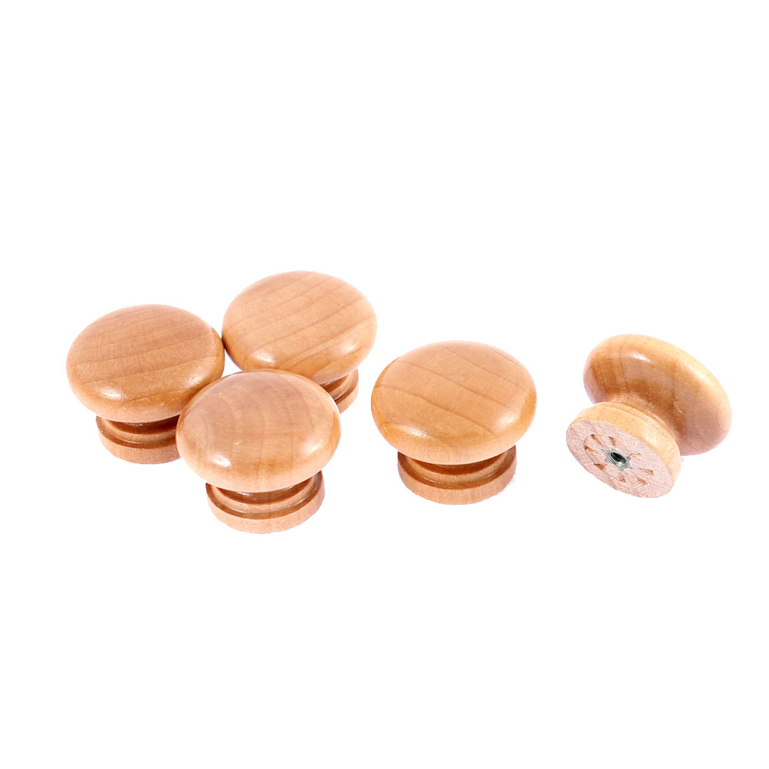 Drawer Cabinet Round Wood Knob Pull Handles Khaki 1.3 Inch Diameter 5pcs