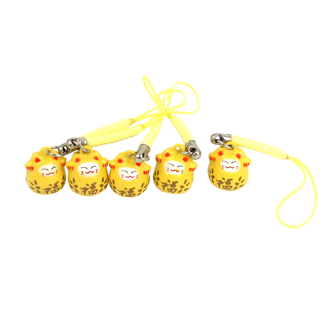 Maneki Neko Cat Japanese Lucky Charm Ring Bell Hanging Strap Yellow 18mm Dimenter 5 Pcs