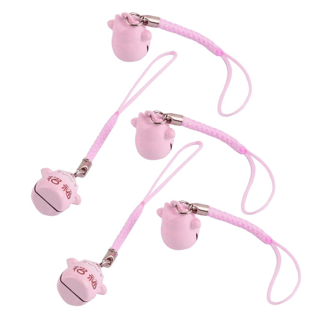 Maneki Neko Cat Japanese Lucky Charm Bell Pink 18mm Diameter 5 Pcs