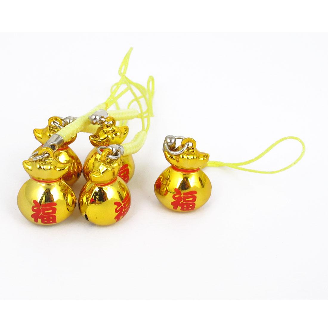 Metal Lucky Bag Ring Bell Ornament Gold Tone 18mm Diameter 5 Pcs