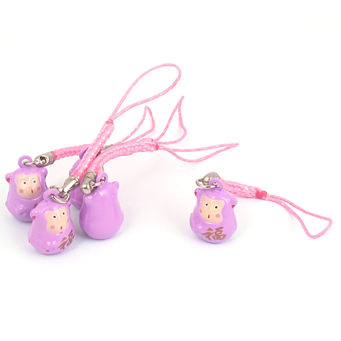 Metal Monkey Cartoon Ring Bell Light Purple 18mm Diameter 5 Pcs