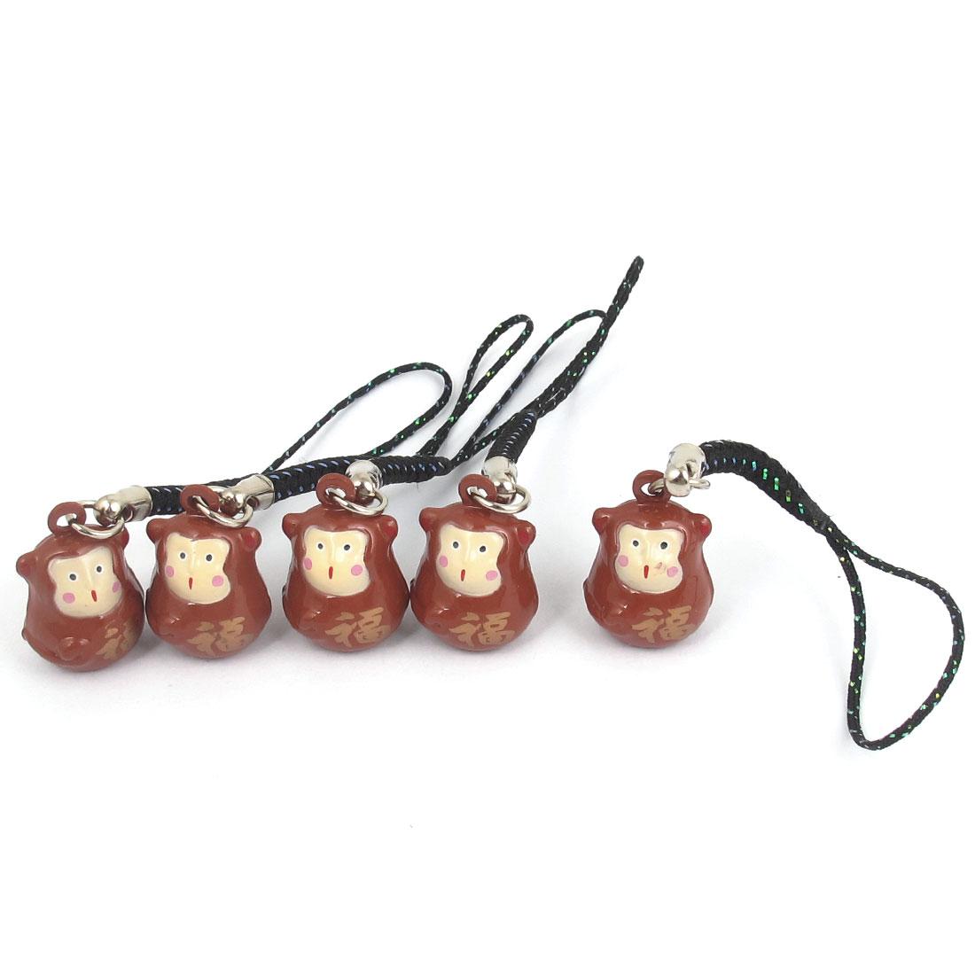 Metal Monkey Cartoon Design Lucky Ring Bell Light Brown 18mm Diameter 5 Pcs