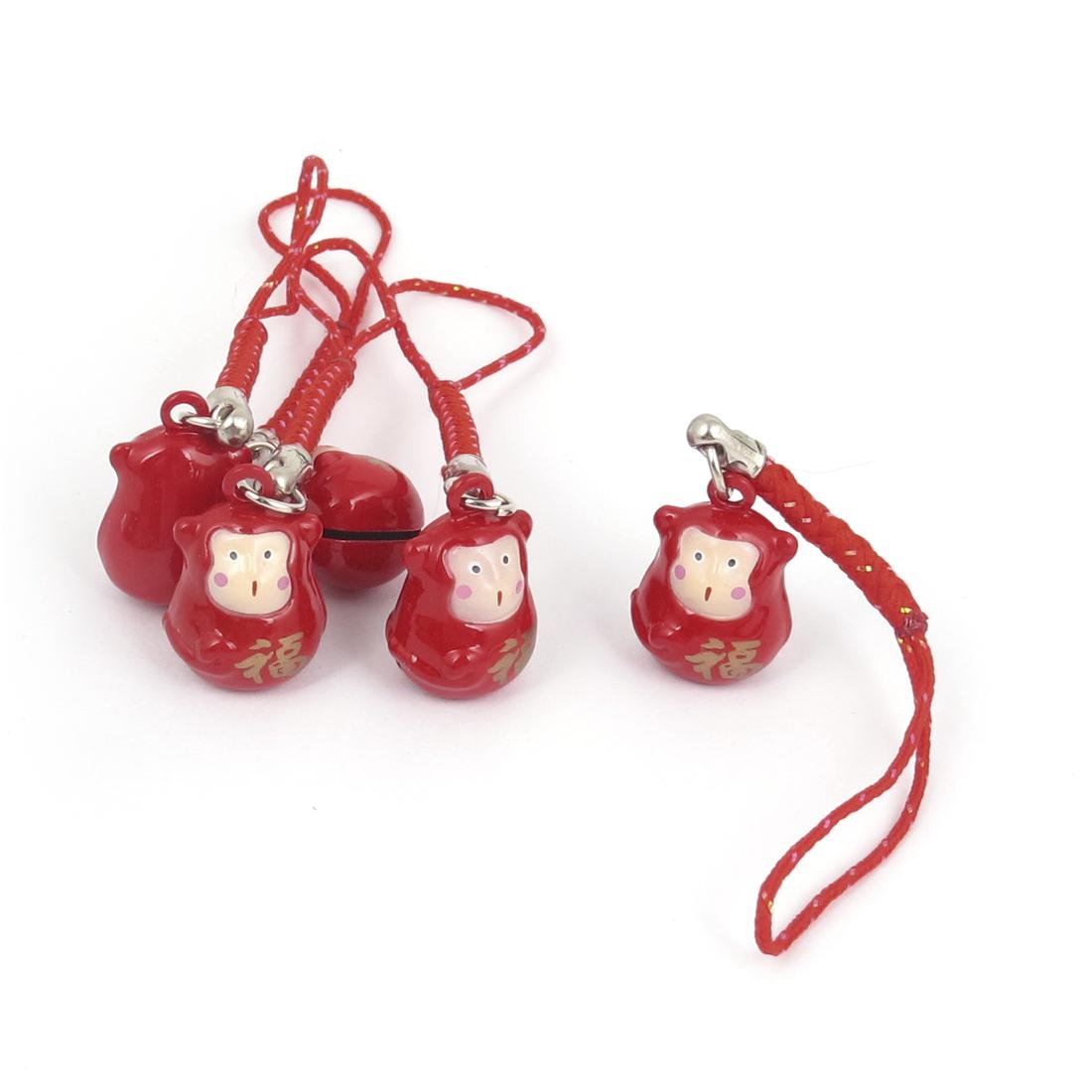 Metal Monkey Design Hanging Ring Bell Red 18mm Diameter 5 Pcs