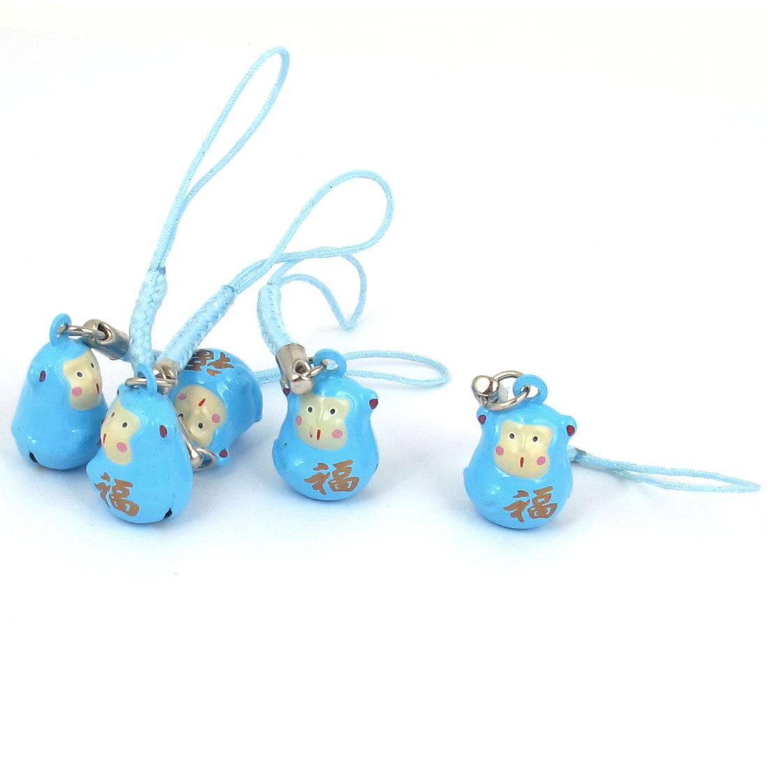 Metal Monkey Cartoon Design Hanging Ring Bell Light Blue 18mm Diameter 5 Pcs