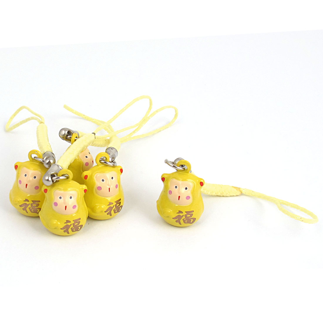 Metal Monkey Cartoon Design Ring Bell Ornament Yellow 18mm Diameter 5 Pcs