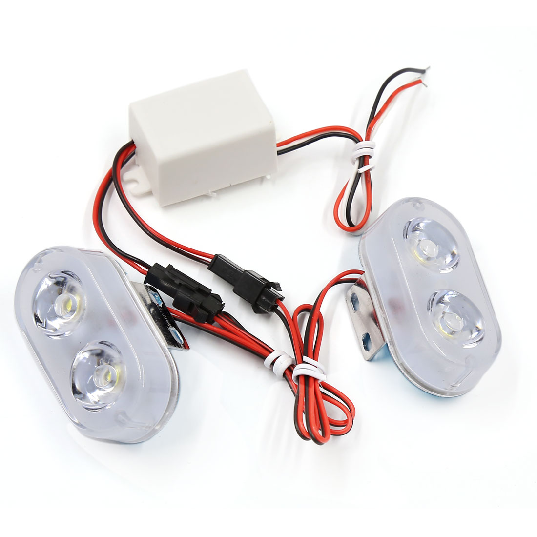 Pair White 2 LED Flashing Warning Light Turn Signal Stop Lamp for Car Vehicle