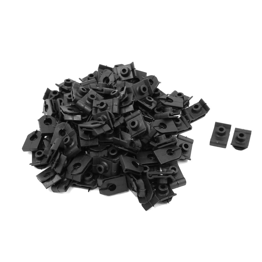 Car 10mm Hole Dia Black Plastic Rivets Fastener Fender Panel Fixing Clips 100 Pcs
