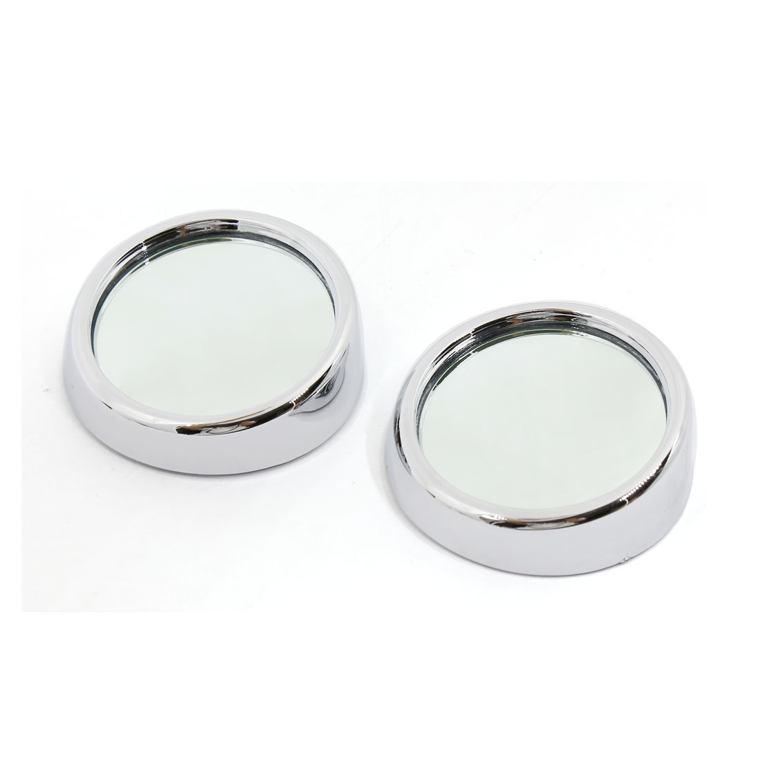 2 Pcs Universal Adhesive Wide Angle Convex Car Blind Spot Rearview Mirror Sliver Tone