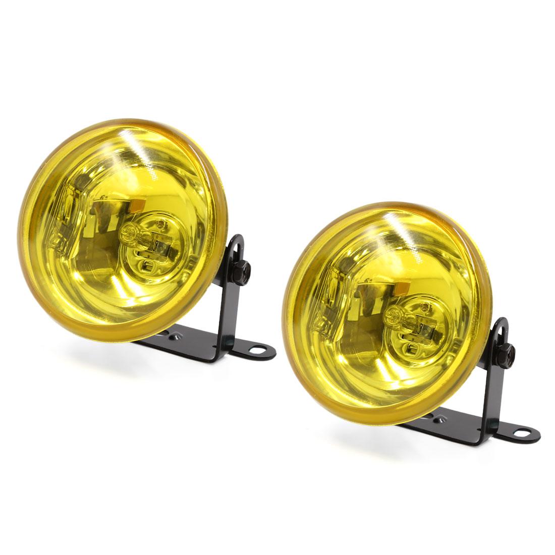 2 Pcs H3 95mm Dia Round Shape Yellow Lamp Car Xenon Fog Light DC 12V 55W