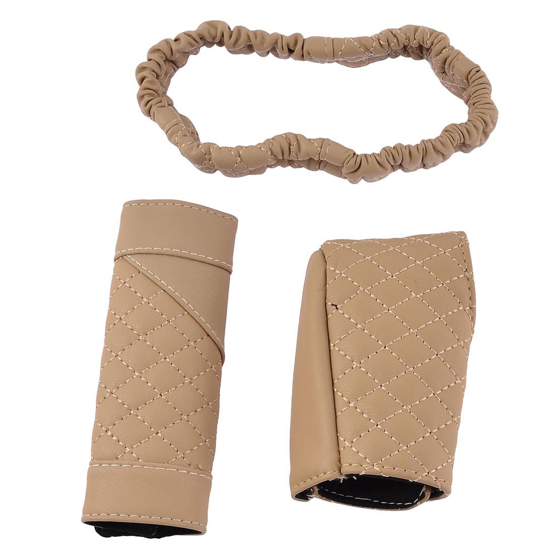 3 in 1 Hook Loop Closure Nonslip Gear Knob Handbrake Rearview Mirror Cover Beige