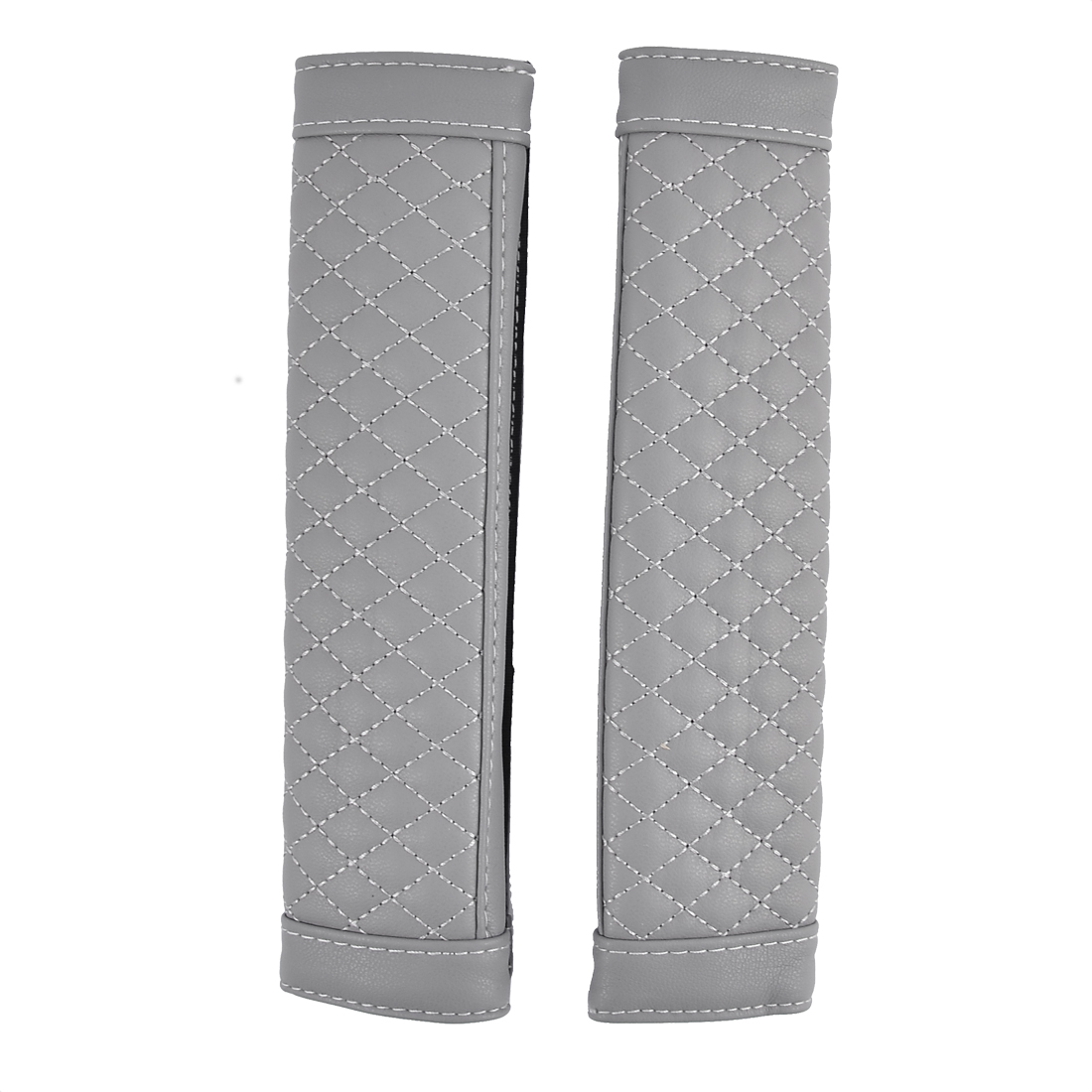 Pair Faux Leather Hook Loop Closure Car Safety Seatbelt Cover Protector Pad Gray