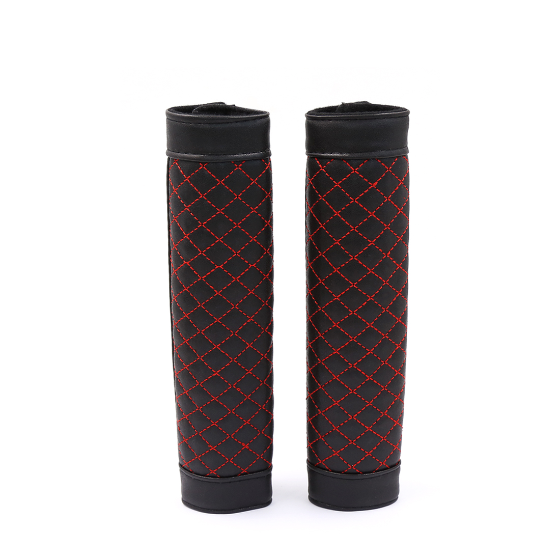 2 Pcs Black Red Grid Patten Nonslip Safety Belt Seatbelt Cover Sleeve for Car