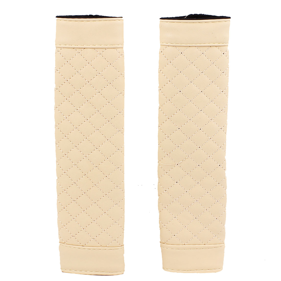 2 Pcs Beige Faux Leather Nonslip Auto Car Safety Seat Belt Seatbelt Cover Sleeve