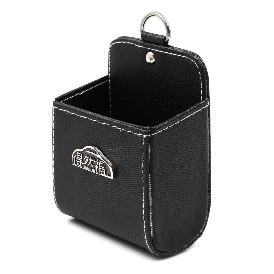 Car Black Faux Leather U Shape Air Vent MP3 Mobile Phone Storage Pouch Pocket