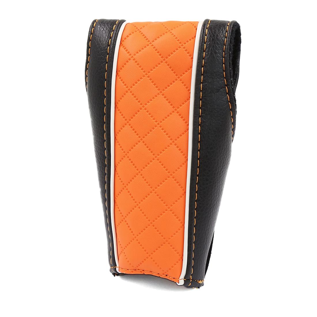 Car Faux Leather Hook Loop Closure Antislip Manual Shift Knob Cover Black Orange
