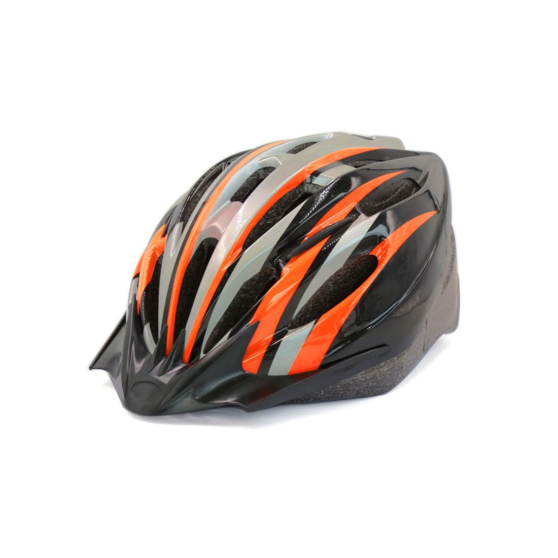 Unisex Adult Road MTB Bike Racing Bicycle Cycling Head Protector Helmet Orange Black w Visor