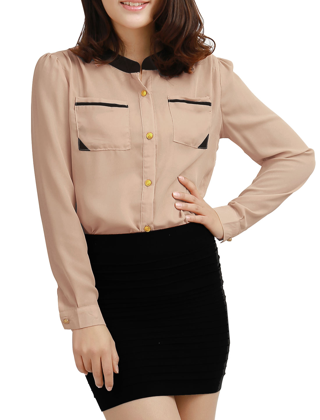 Women Stand Collar Long Sleeves High Low Hem Dual Pockets Chiffon Shirt Pink M